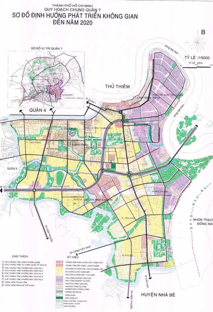Map of Phu My Hung urban area in District 7 planning