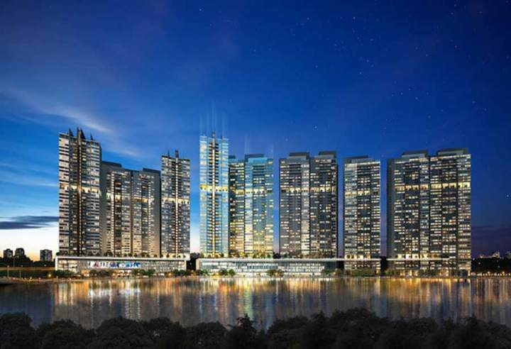 A panoramic view of the riverfront complex at the Riviera Point project owned by Keppel Land