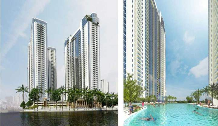 Splendid pool-side perspective at the Sunwah Pearl project