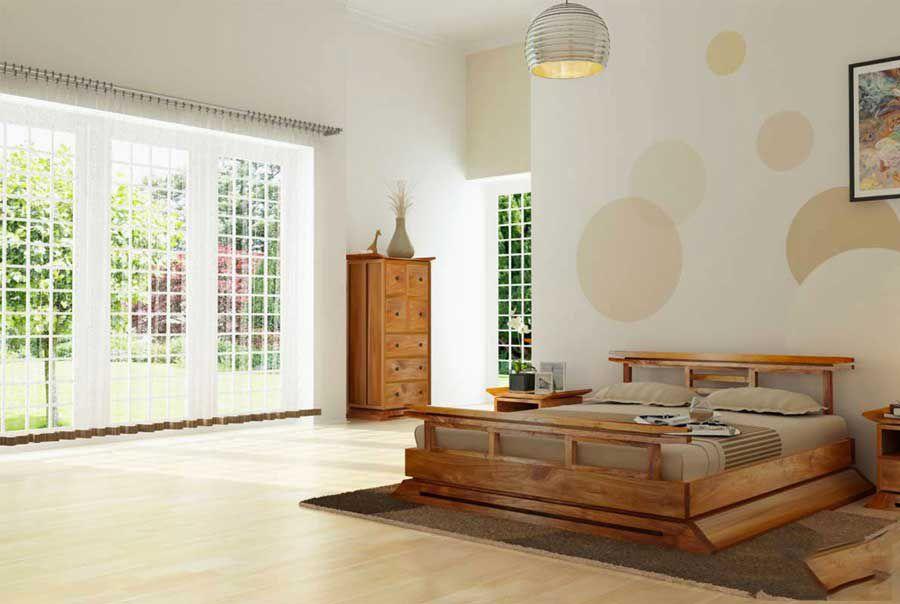 Bedroom furniture is bold Oriental