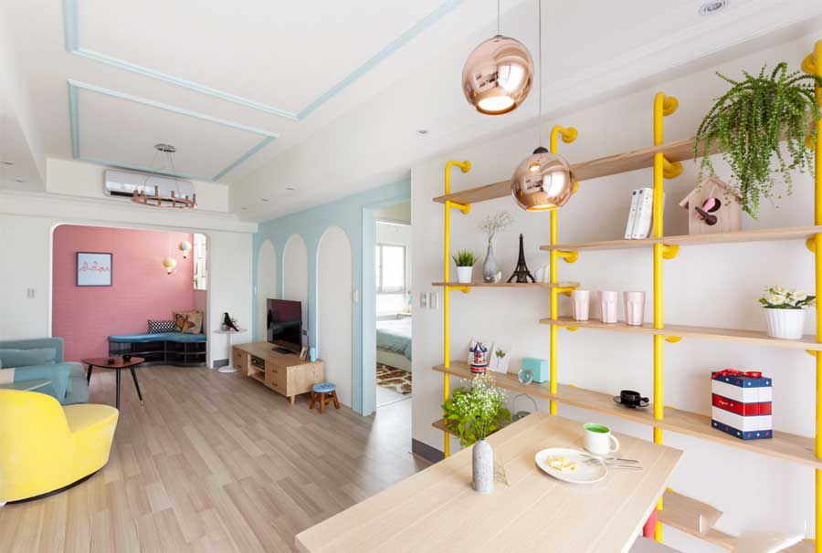Pastel colored house design