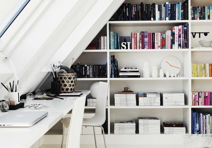 Unique interior with book decoration in the apartment
