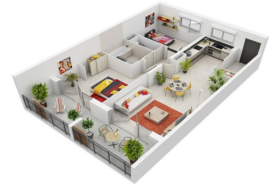 Modern designs for 2- bedroom apartments