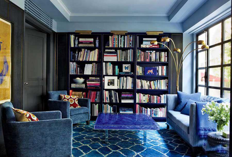 Interior design of bookcases in the home