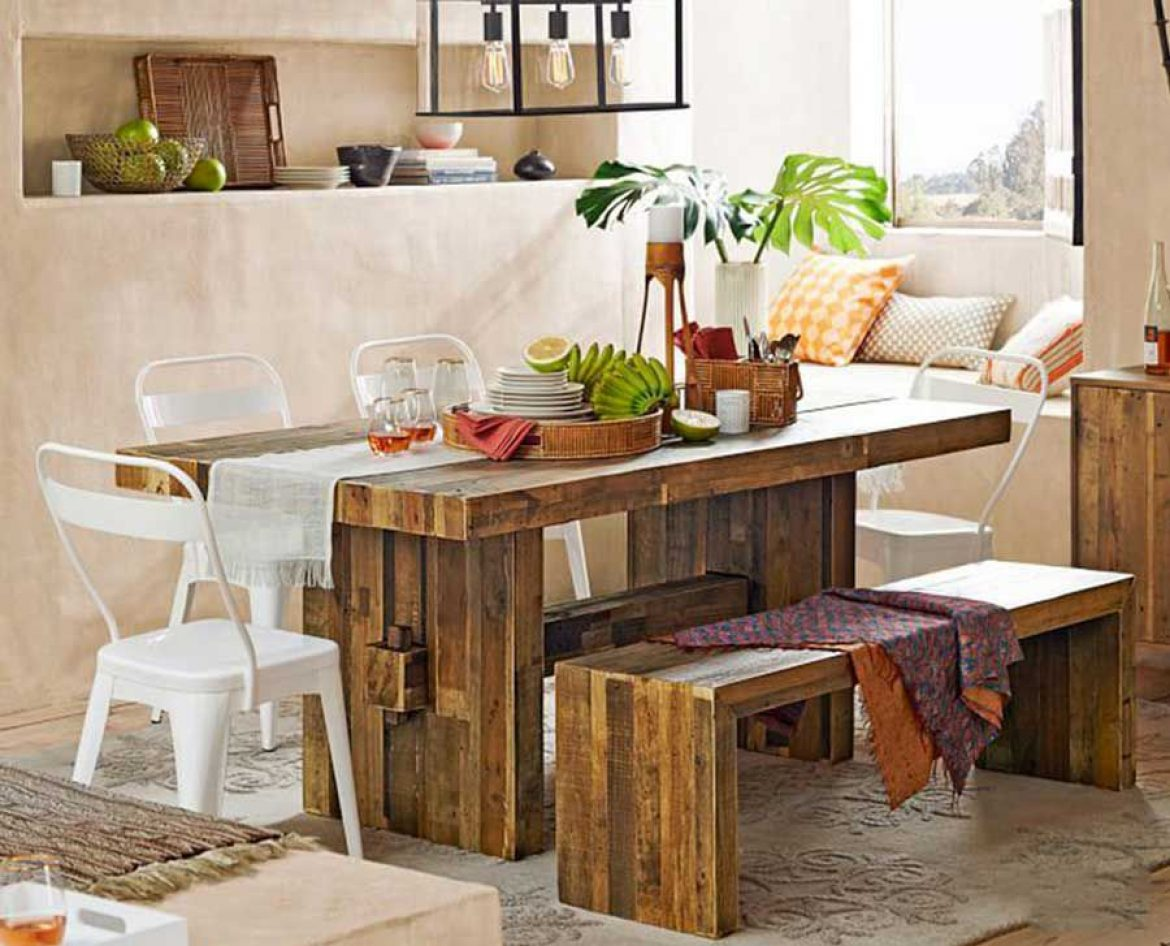 The secret to incorporating recycled wood into the dining room