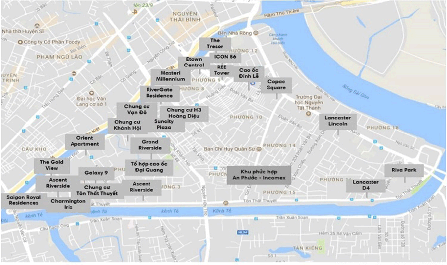 Overview of 8 apartment projects are under construction in District 4