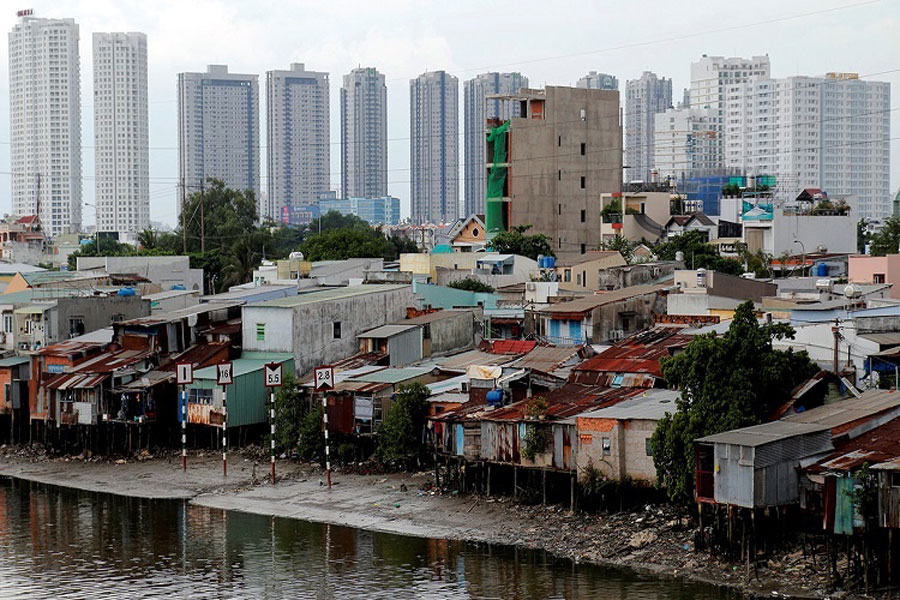 Households living on the south bank of the canal