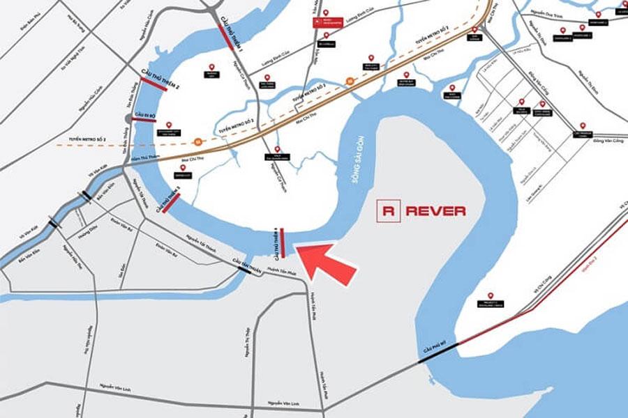 Location of Thu Thiem 4 bridge in Ho Chi Minh City