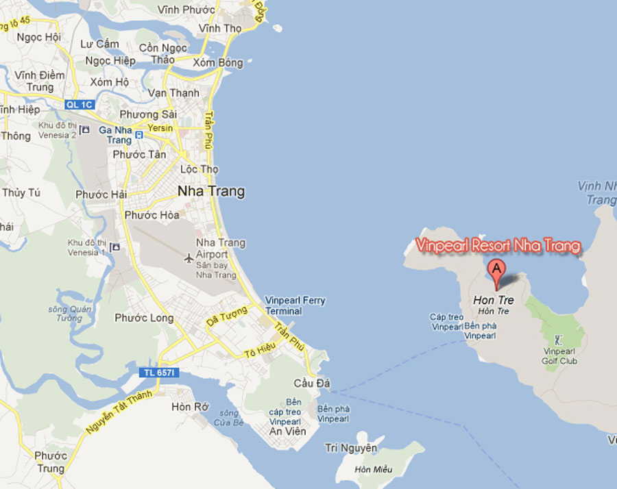 Location of Vinpearl Nha Trang beach villas