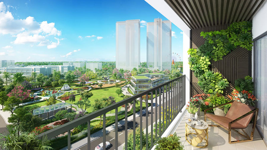 View apartment overlooking green utility project Saigon Green