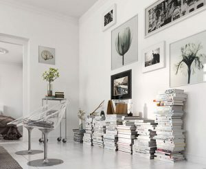 Corner library in the apartment