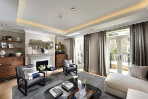 Living room in a five-bedroom apartment in the Chiswick Gate project