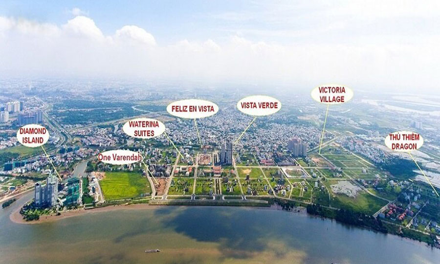 Overall position of some projects in Thanh My Loi area, District 2.