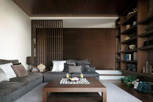 The wood paneling