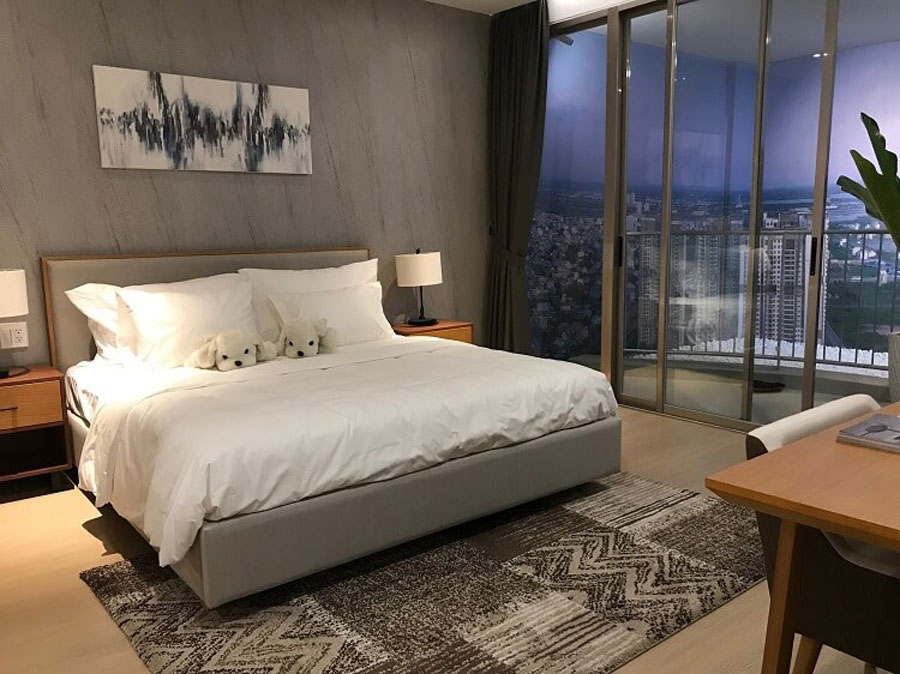 Bed room with open balcony, view of the romantic Sai Gon river