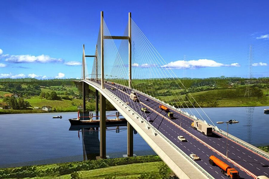 Cat Lai bridge is designed in the form of cable stayed bridge with the length of 4km