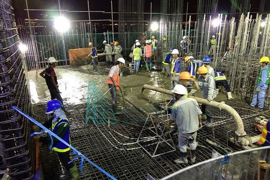Engineers, construction workers at the Waterina Suites project