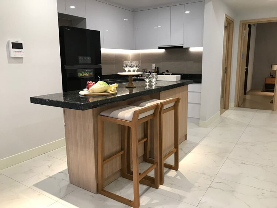 Kitchen area with modern facilities catering to the needs of residents