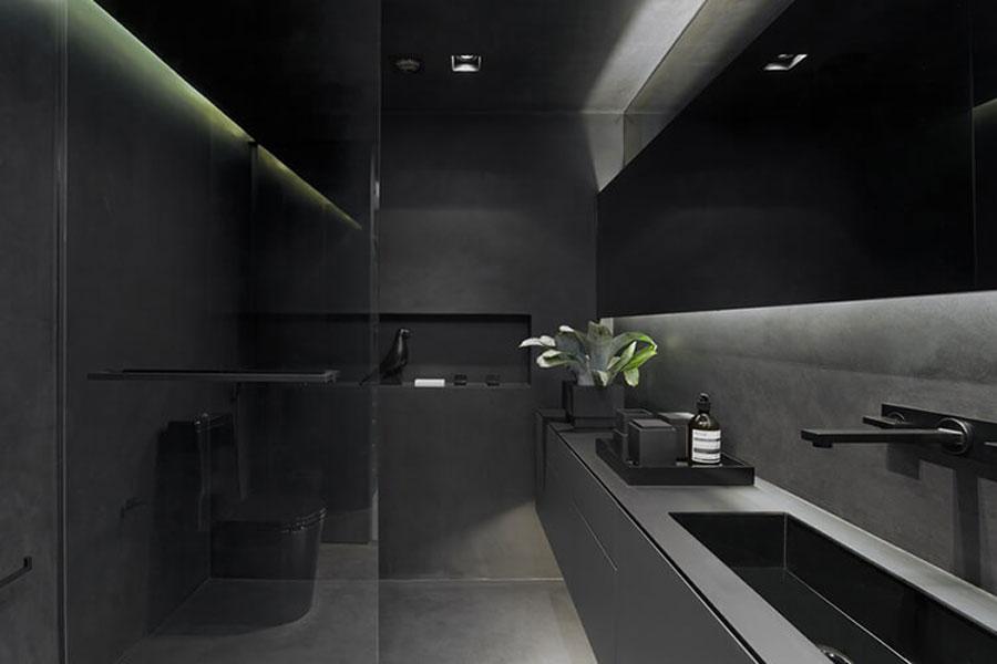 Modern bathroom with dark gray color