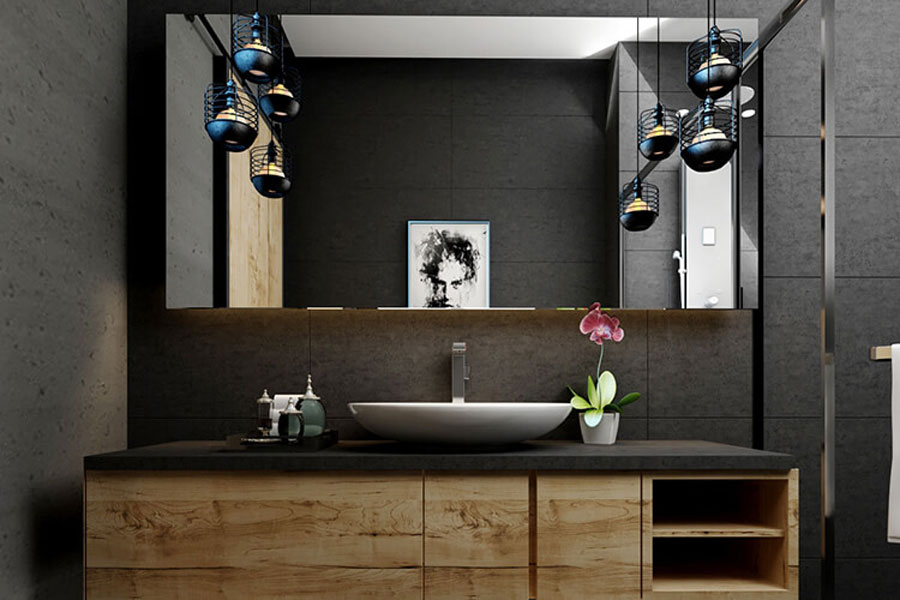 Modern bathrooms are decorated with impressive lamps