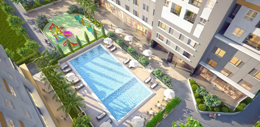 Swimming pool and children's play area at the Sunshine Avenue apartment project