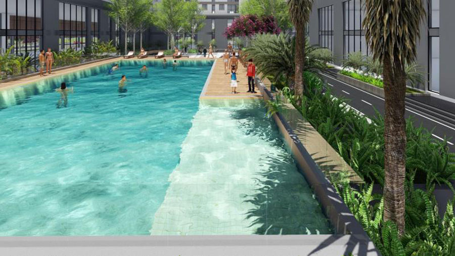 Swimming pool at Sunshine Avenue apartment project in District 8
