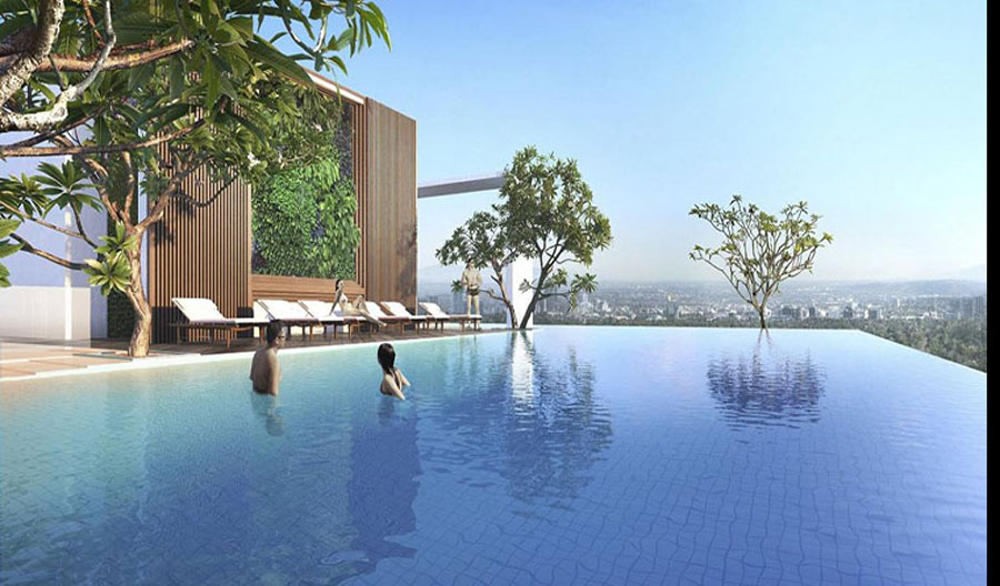 The overflow swimming pool at the Ascent Lakeside District 7 Apartment project