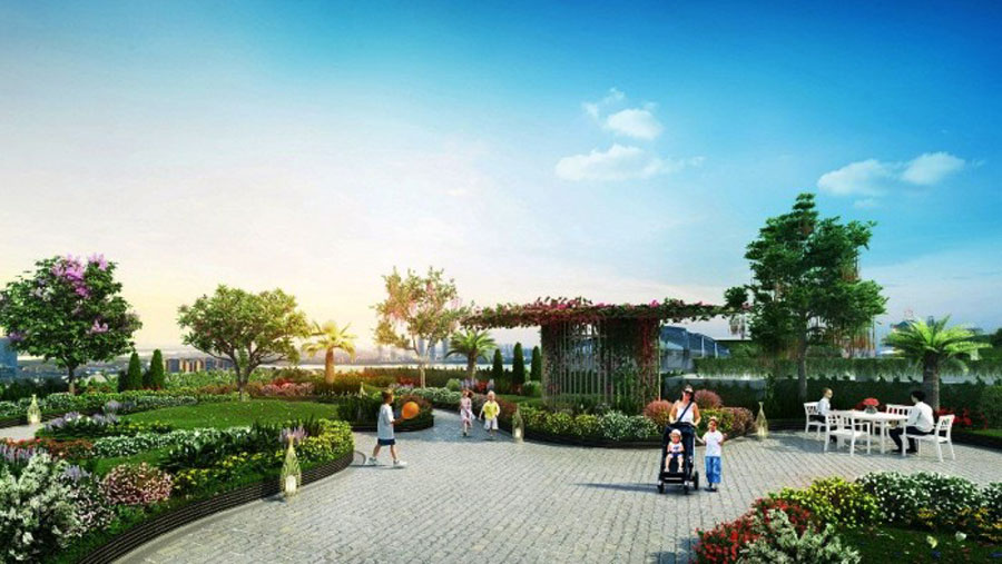 The poetic garden on the roof of a luxury condominium complex in the south of Hanoi.