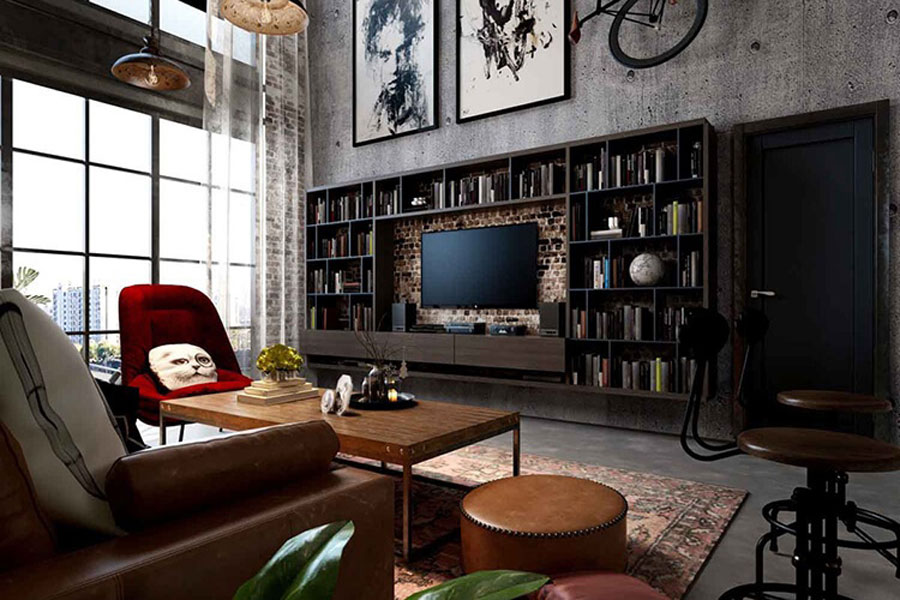 Unique wall-to-wall TV sets and book layouts make for convenient use