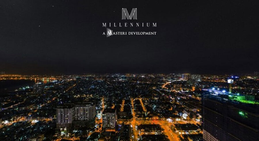 View overlooking District 4 - District 7 at night from Masteri Millennium apartment
