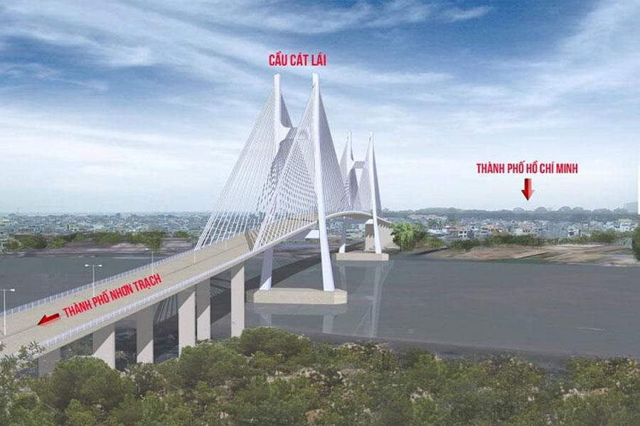 Visual image of Cat Lai Bridge linking Ho Chi Minh City and Dong Nai