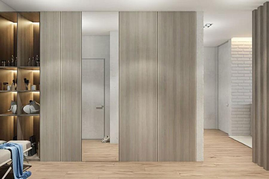 Walls between wood walls mixed concrete