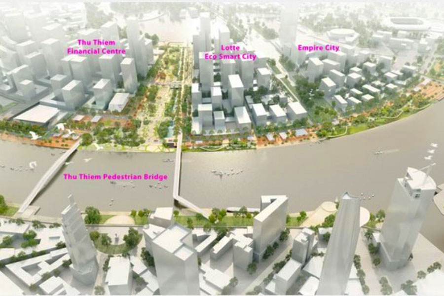 Location of Eco Smart City project in Thu Thiem new urban area.