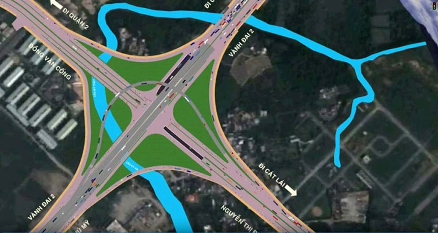 Perspective of traffic direction at My Thuy intersection