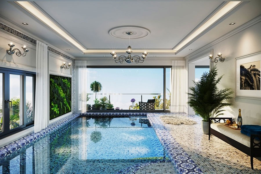 Swimming pool is designed in the villa.