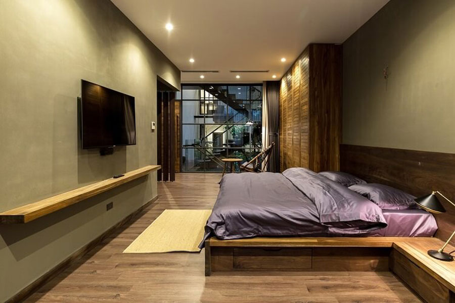 The bedrooms are modern in design