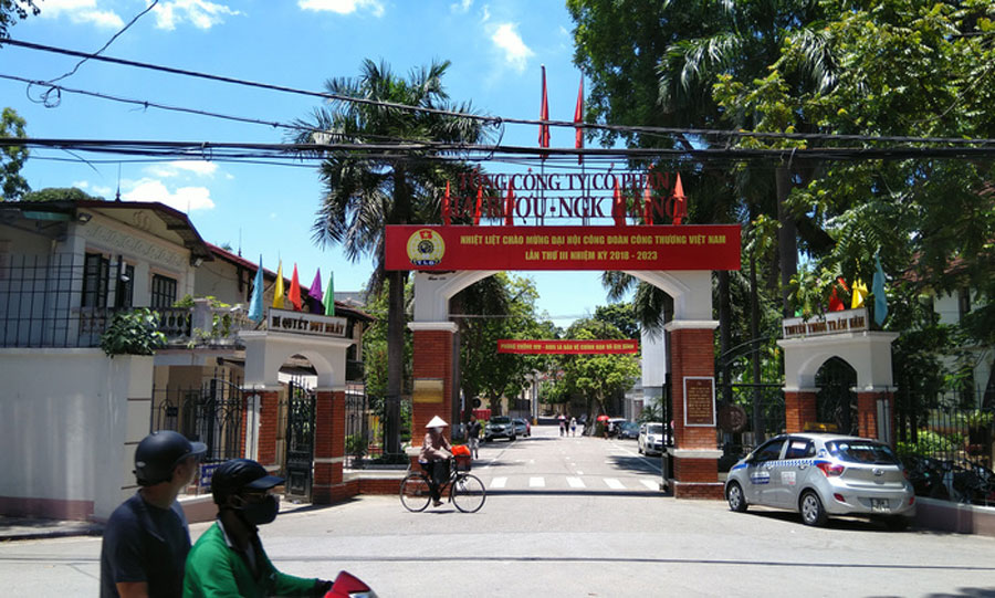 The main gate of Hanoi Beer - Alcohol - Beverage Corporation (Habeco) is located on Hoang Hoa Tham street (Ba Dinh district, Hanoi)