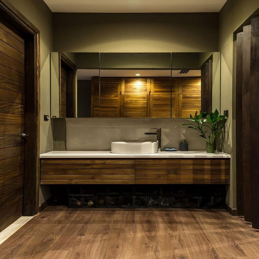 Wood is still the main material for the bathroom