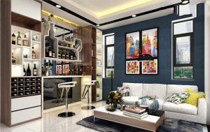 Living room with European-style Soopha L at SouthGate Tower