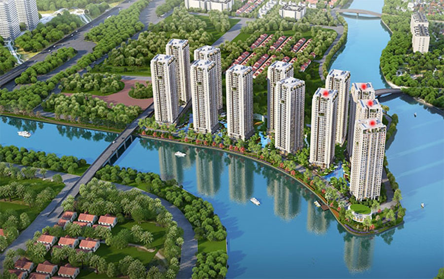 Position 4 block Diamond (red dot) in the overall project Gem Riverside