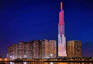 Project Landmark 81 tower in the Vinhomes Central Park luxury urban area