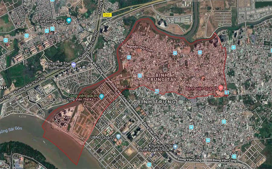 Satellite map of Binh Trung Tay District 2
