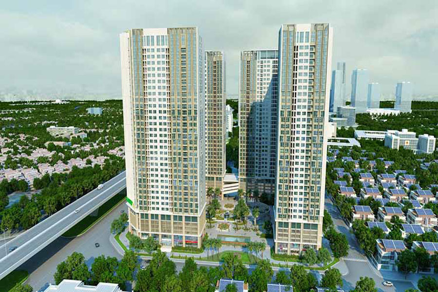 The front of Nguyen Van Linh Boulevard of Eco Green Saigon project