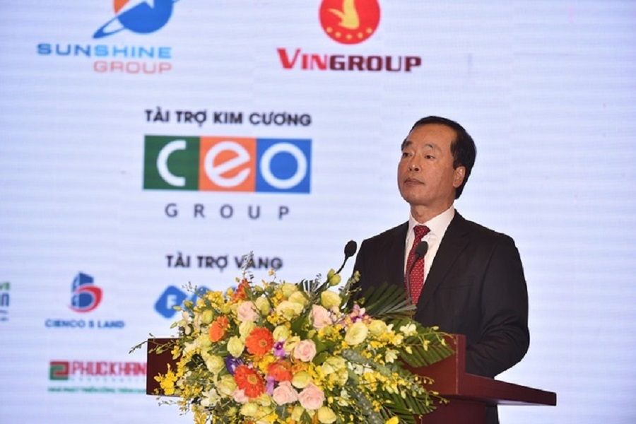 Minister of Construction Pham Hong Ha spoke at the opening ceremony on 6/9.